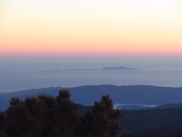 San Nicolas Island poping up behind Anacapa