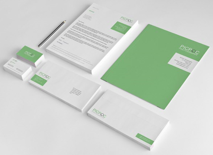 Some modern-looking corporate envelopes and letterheads
