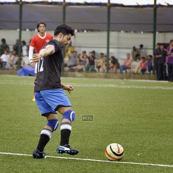Gurmeet Choudhary during a charity soccer match organised by Aamir's daughter Ira Khan, at Cooperage ground, on July 20, 2014.(Pic: Viral Bhayani)