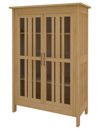 Syracuse Glass Door Bookshelf in Ginger Maple