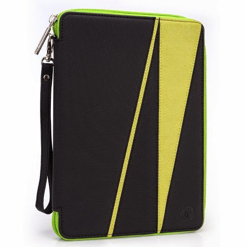 GizmoDorks Travel Folio Zipper Stand Case Cover Pouch for LeapFrog LeapPad with Carabiner Key Chain - Green