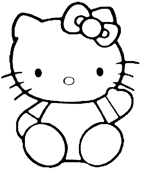 Hello Kitty say hi coloring pages