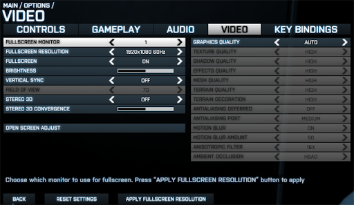 video setting