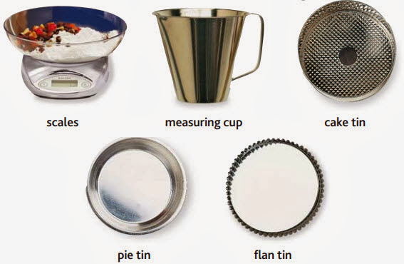 scales, measuring cup, cake tin, pie tin, flan tin