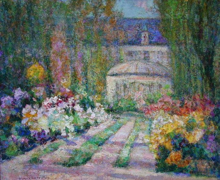 Victor Charreton - Jardin. Allée Fleurie devant le Château