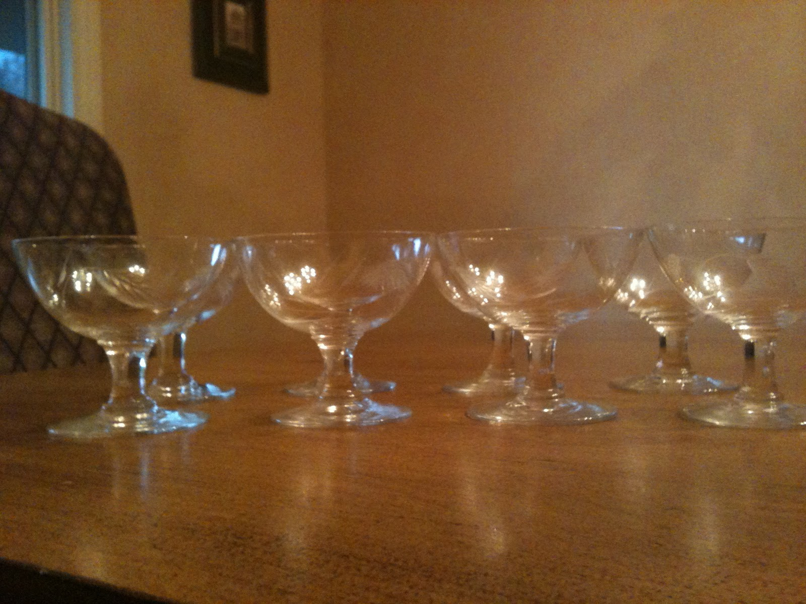 Zoes Apartment  Etched Wheat Pattern Sherbet Glasses