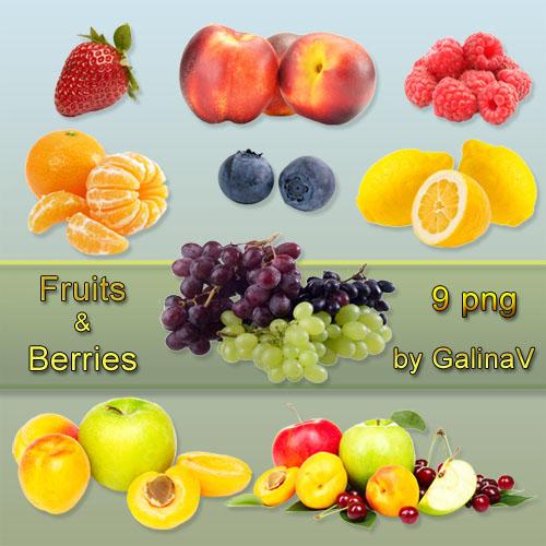 Клипарт PNG Свежие и вкусные ягоды и фрукты