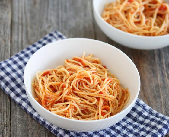 photo of two bowls of Scott Conant's spaghetti
