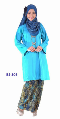 Baju Kurung Mini Malaysia biru turqoise raya 2014 fesyen terkini
