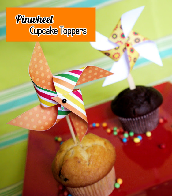How to Make a DIY Paper Pinwheel Cupcake Topper - BirdsParty.com