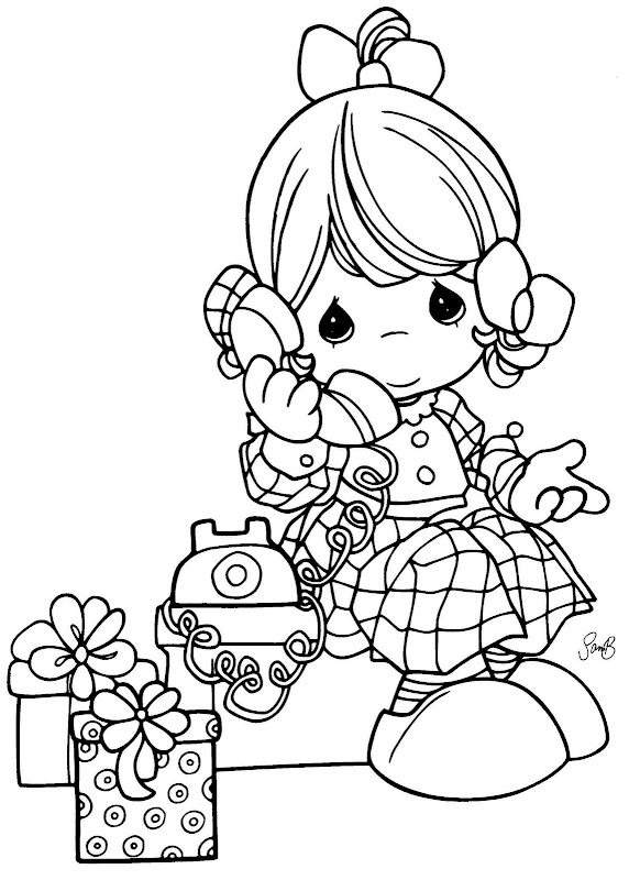 girl talking on the phone precious moments coloring pages
