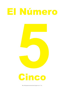 Lámina para imprimir el número cinco en color Amarillo