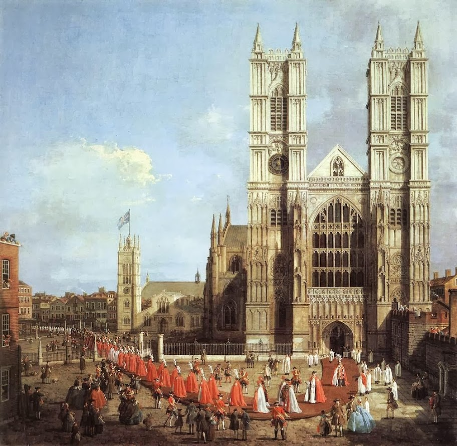 Canaletto - Westminster Abbey with a procession of Knights of the Bath, 1749