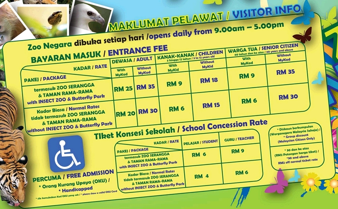 national zoo malaysia selangor fee (rate)