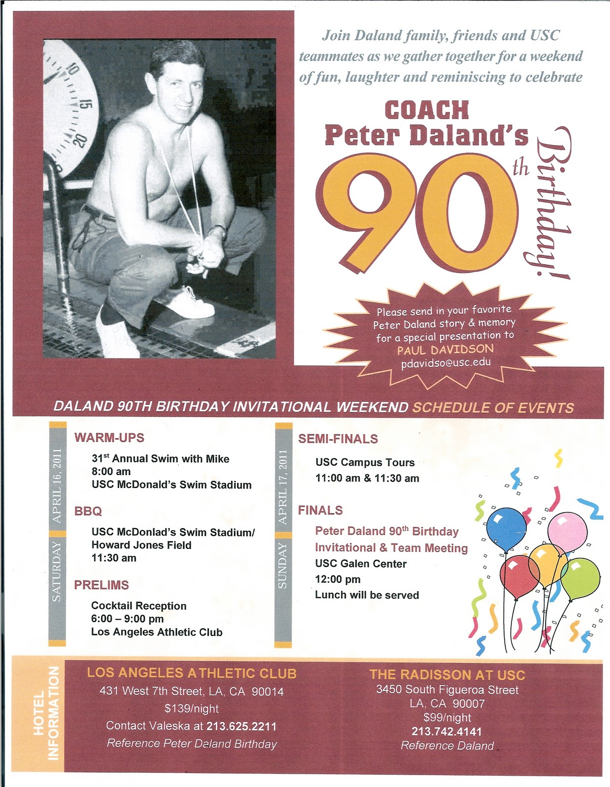 Trojan Swimmers: Peter Daland 90th Birthday Party Invitation