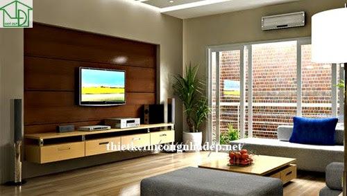 Nội thất phòng khách với kệ tivi đơn giản
