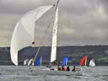 J/80s sailing off Cherbourg, France at Nationals