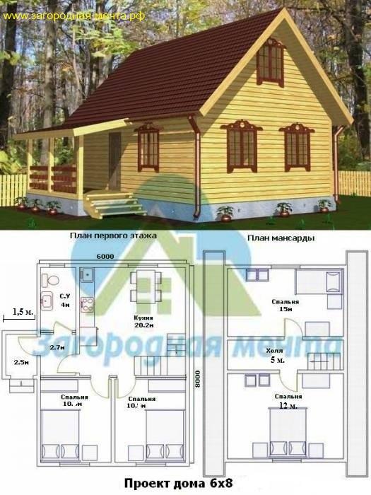 проекты каркасных дачных домов 6х8
