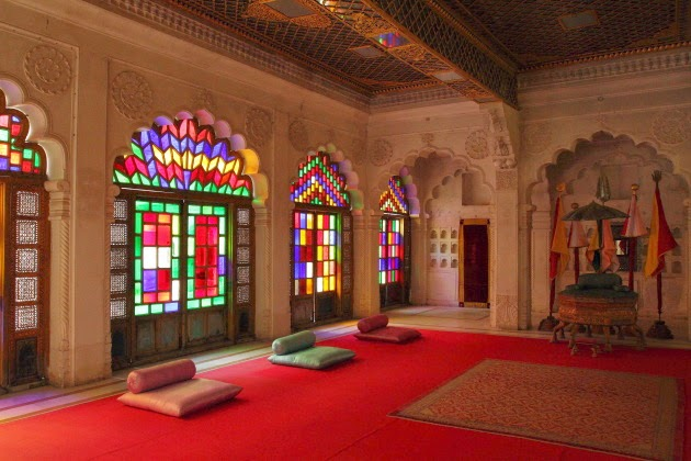 Beautiful play of colors inside the Durbar of Mehrangarh Fort, Jodhpur