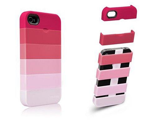 組み合わせて表情を変えられるiPhone4用ケース(Stacks iPhone 4 case)