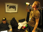 then its time to sit around the dressing room and wait...Aden's still working on the bottle of Jameson