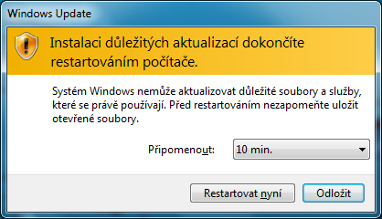 """Otravné"" okno Windows Update"