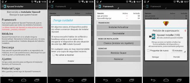 instalar xposed framework en android