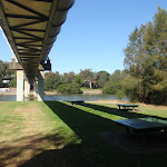 Picnic area under a large pipe bridge (77416)