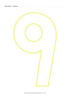 Dibujo para colorear y pintar el número nueve en color amarillo