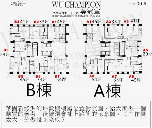 華固新綠洲棟別與坪數分配表與相對位置