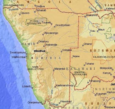 Landkarte Namibia