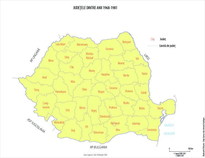 Harta administrativ-teritorială a României între 1968 - 1981. Sunt reînfiinţate judeţele
