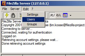 Administración de FileZilla Server, crear usuarios