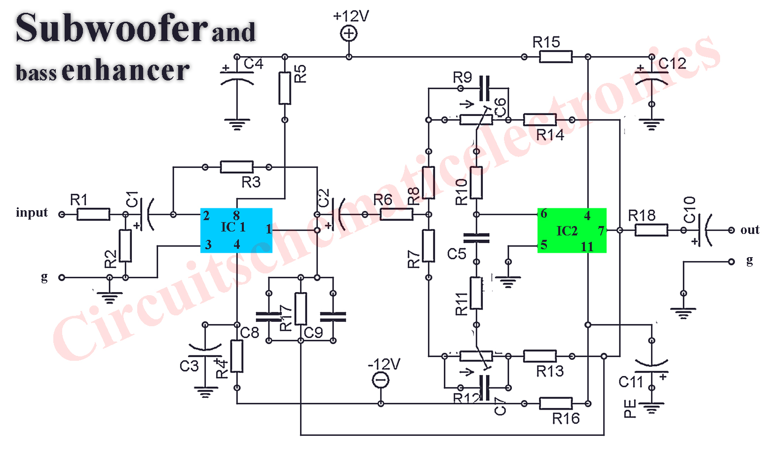 Circuit Diagram Of Amplifier 12v 20w Stereo Audio Tda2005 Schematic Design Subwoofer Booster With Pcb Layout Electronic