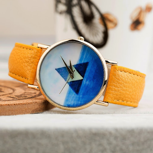 Fashion Geneva Watches Women Quartz Watch blue Triangle