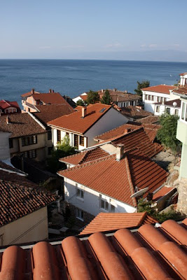 Tiled rooftops on Lake Ohrid in Macedonia