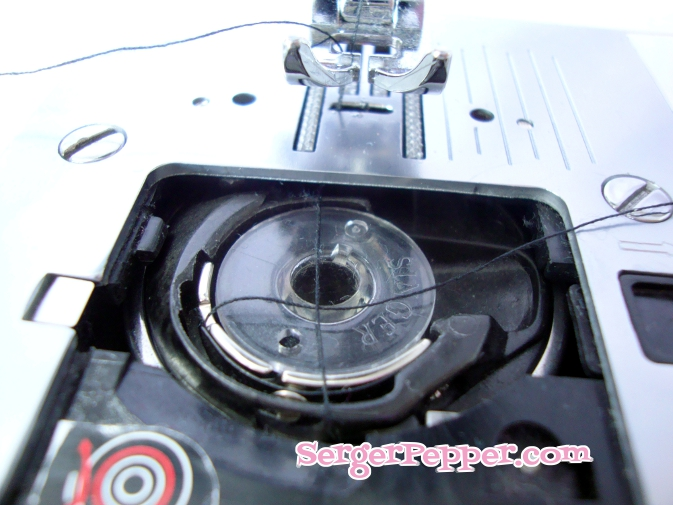 Threading A Sewing Machine In 40 Easy Steps Sew Basic Serger Pepper Enchanting How To Thread Bobbin On Singer Sewing Machine