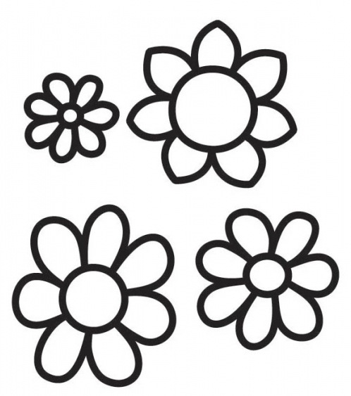 Dibujos De Flores En Blanco Y Negro. Excellent Eps Vector De Silueta ...