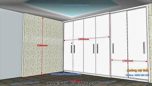 <strong><em>Tủ âm tường màu trắng kết hợp cửa lùa và cửa mở</em></strong>-5