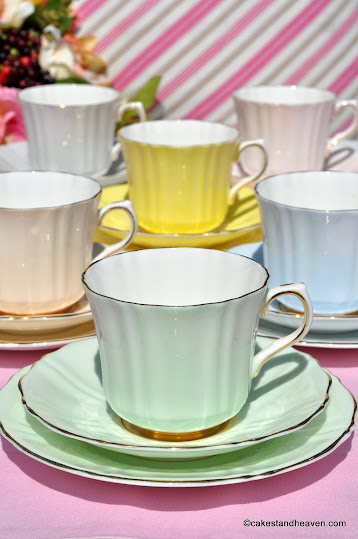 Six teacups, saucers and tea or side plates