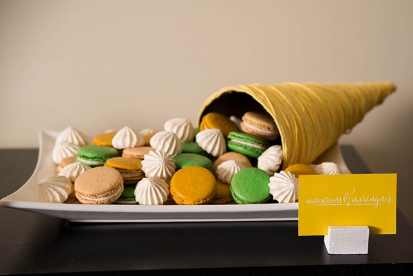 Modern cornucopia of macarons and meringues