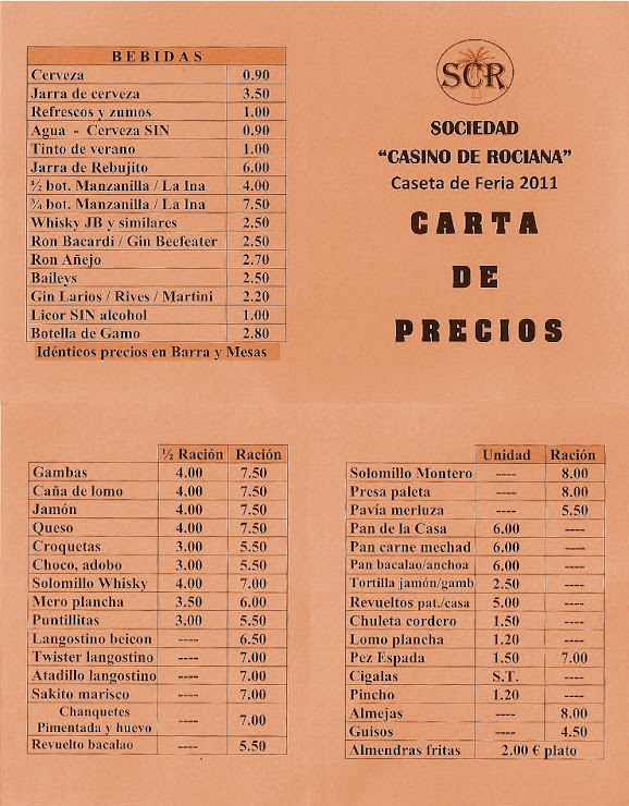 Rociana Casino Caseta de Feria Lista de precios
