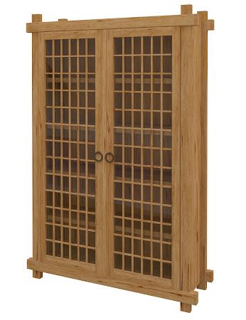 Tansu Glass Door Bookshelf in Classical Maple