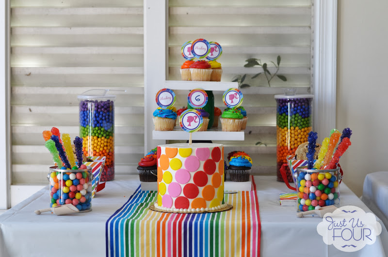 rainbow barbie party dessert table