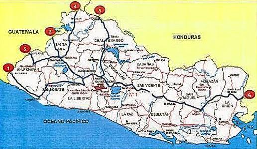 Mapa de El Salvador con sus fronteras