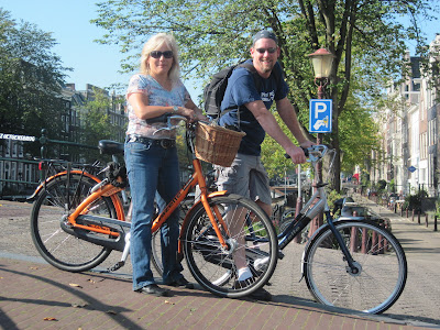 We rented bikes on day 2, and biked the Amstel River for a while.