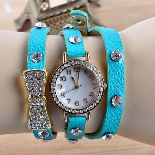 Arrived wrap Around Bracelet Watch Bowknot Crystal Imit