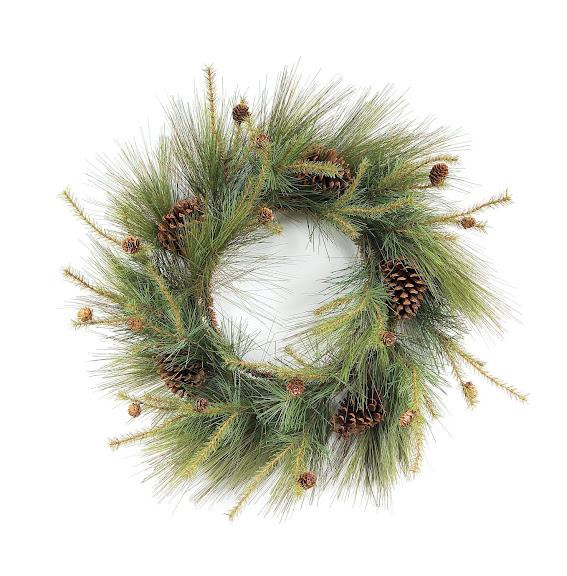 Melrose Mixed Short and Long Needle Wispy Pine Wreath, 24-Inch