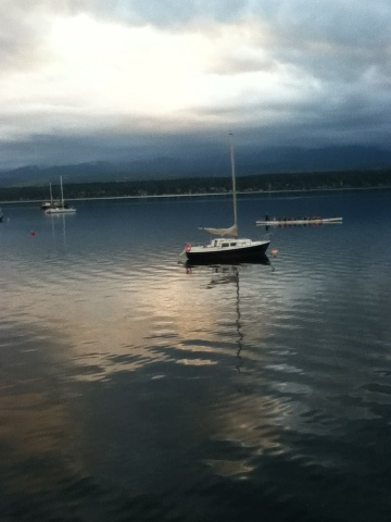 sailboat on the calm comox waters