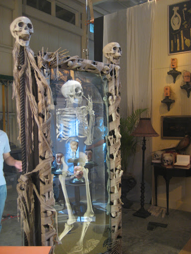...to make sure he matches up with his skeletal reflection in the full size two-way mirror.